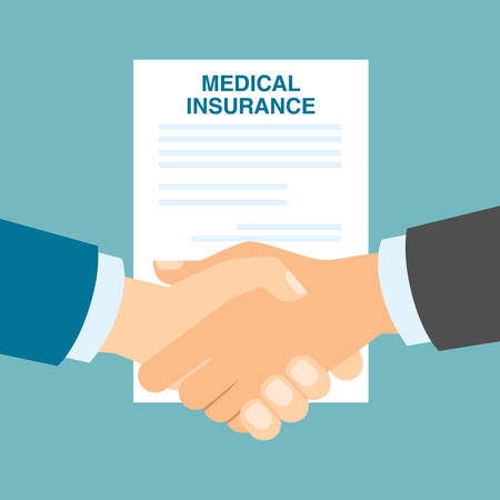 agency agreement: Medical insurance handshake. Agreement with doctor or agency about health insurance. Health safety. Illustration