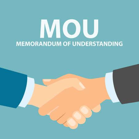 Memorandum of Understanding Händedruck. Abkommen zu verstehen. Vektorgrafik