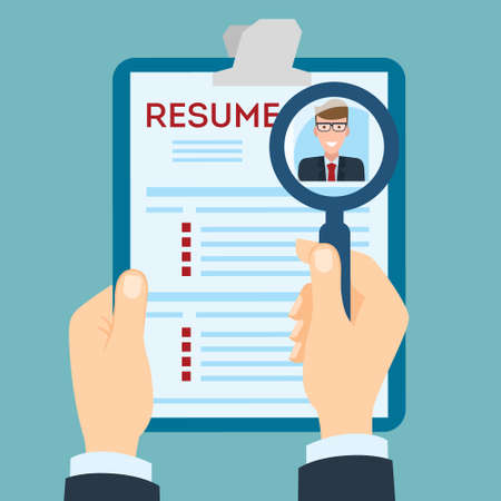 job opportunity: Resume with magnifier at the table. Cv resume concept. Finding a worker. Apply for a job. Business opportunity. Cv profile.