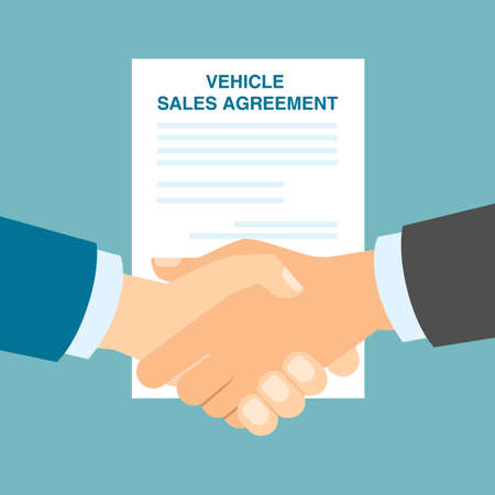 vehicle sales agreement handshake making agreement in buying
