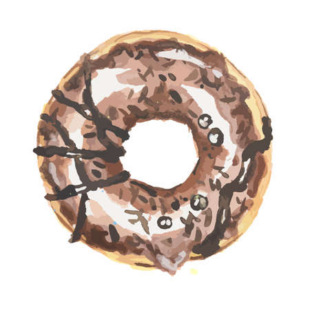 american dessert: Watercolor brown donut on white background. Isolated donut glazed with blue. American dessert. Chocolate. Illustration