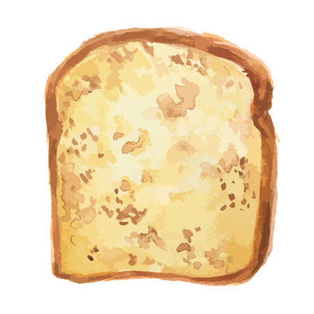 crust: Isolated watercolor bread slice. Fresh and crust bread toast for breakfast on white background.