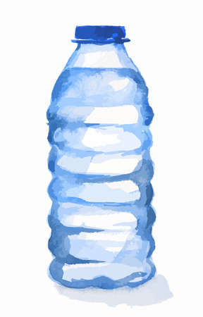 Watercolor plastic bottles. Blue bottle with water standing on white background. Fresh healthy beverage.