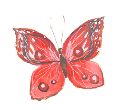Isolated watercolor red butterfly on white background. Beautiful fragile creature for decoration.