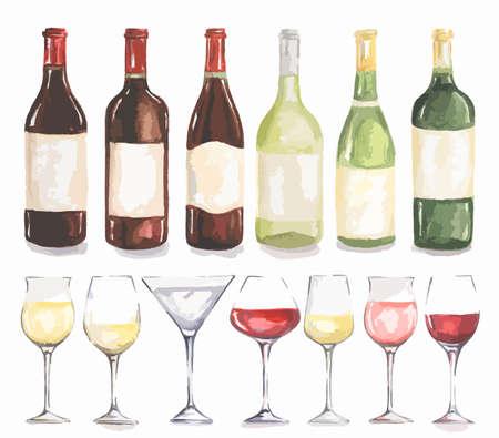 glas: Watercolor wine bottles and glasses set. Beautiful bottles and glasses for decoration menu in restaurant or cafe. Alcoholic beverage. Illustration