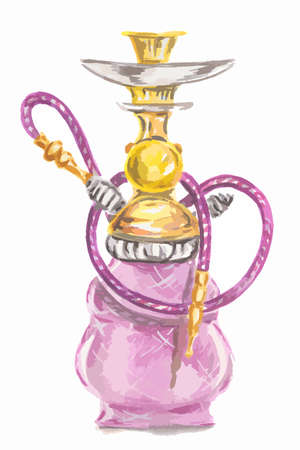 pipe smoking: Watercolor colorful hookah. Eastern exotic smoking pipe with turkish ornament. Beautiful art for decoration.