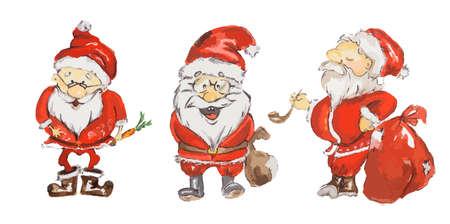 Watercolor Santa Claus set. Cute funny Santa set for new year and christmas decoration. Isolated cartoon character.
