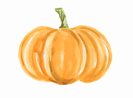 Isolated watercolor pumpkin. Fresh and healthy vegetable with vitamins. Farm vegetables. 向量圖像