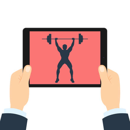 weightlifter: Fitness app for tablet. Weightlifter with barbell. Hands holding tablet. Bodybuilding app.