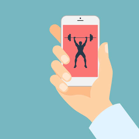 Fitness app for smartphone. Weightlifter with barbell. Hand holding smartphone. Bodybuilding app.