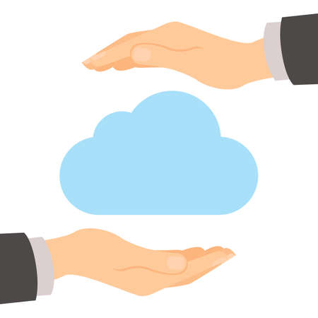 Cloud storage protection. Data privacy and computer safety. Hands safe the cloud. Illustration