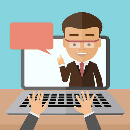 Business-Webinar-Berater. Konzept der entfernten Online-Lernen, Konferenz und Beratung oder vlogging. Gut aussehend lächelnd Geschäftsmann. Vektorgrafik