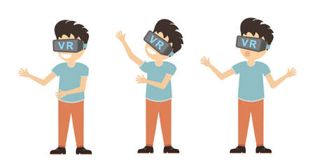 new technologies: Isolated vr man. Young smiling man using vr glasses on white background. Augmented reality, new technologies. Illustration