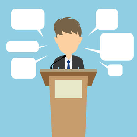 campaign promises: Politician with speech bubbles. Concept of debates or president election. Blank template face with speech bubbles.