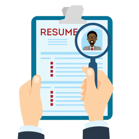 american table: African american man resume with magnifier at the table. Cv resume concept. Finding a worker. Apply for a job. Business opportunity. Cv profile.