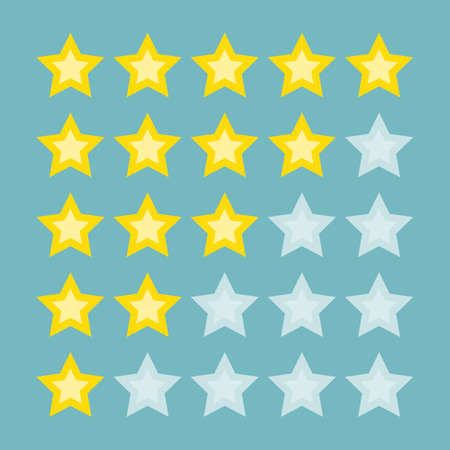 Yellow rating stars. From bad to excellent. Making reputation and inviting customers. Illustration