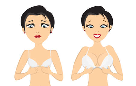 girl before and after breast augmentation on white bacground