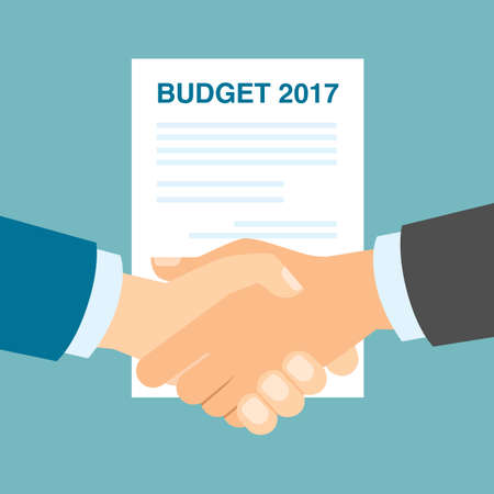 agreement shaking hands: Budget 2017 handshake. Businessmen shaking hands in agreement about budget in 2017. Business strategy in 2017. Illustration