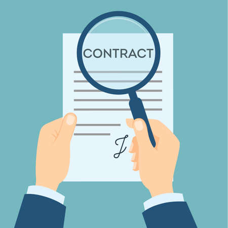 investigate: Contract analyzing with magnifyer. Preparation and making decision about contract. Investigate fraud and risk. Illustration