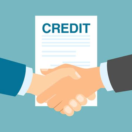 lender: Credit deal handshake. Lender lend credit. New partnership. Economy and payment.