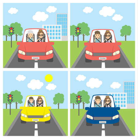car driver: Driving test set. Funny set with driving test situations with instructor man and student woman. Driving education. Illustration