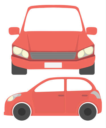 car isolated: Isolated red car. Simple red isometric car on white background. Illustration