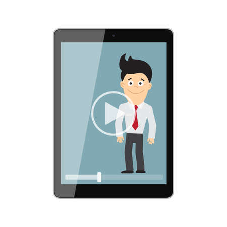 colleague: Online learning concept. Isolated tablet screen with teacher, businessman or colleague. Webinar or online training concept. Vlogging and video.