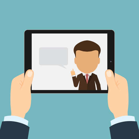 consultor seminario de negocios. Concepto de aprendizaje a distancia en línea, conferencias y consultas. Oficina de trabajo. Ilustración de vector