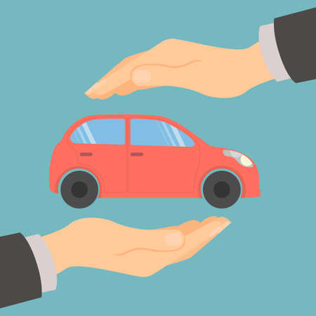 guaranty: Car insurance concept. Insurance company. Guaranty of preservation, repair and protection. Illustration