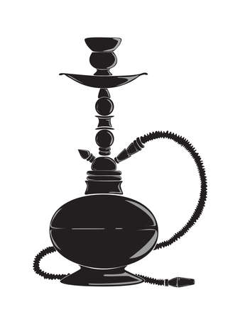 smokers: Black hookah silhouette. Oriental tobacco and pipe. Concept of relaxaation and lounge.