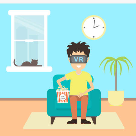 3d film: Isolated vr man. Young smiling man using vr glasses sits on armchair on white background. Augmented reality, new technologies. 3D film.