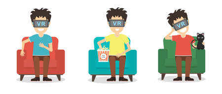 new technologies: Isolated vr man set. Young smiling man using vr glasses sits on armchair on white background. Augmented reality, new technologies. 3D film.
