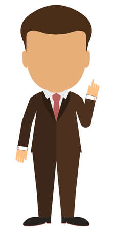 Isolated cartoon businessman. White background. Consultant, colleague, office worker or boss and more. Template blank face. Illustration