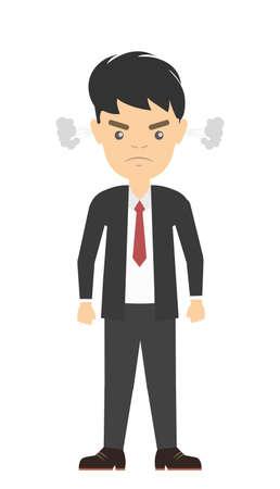 estereotipo: hombre de negocios enojado aislado. Estereotipo del empleado enojado. Llena de estrés y la ira.