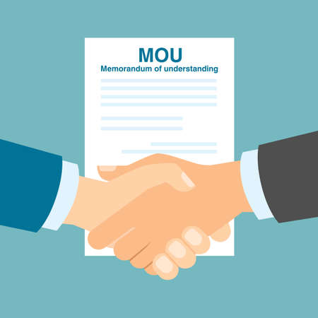 an understanding: Memorandum of understanding handshake. Agreement in understanding.