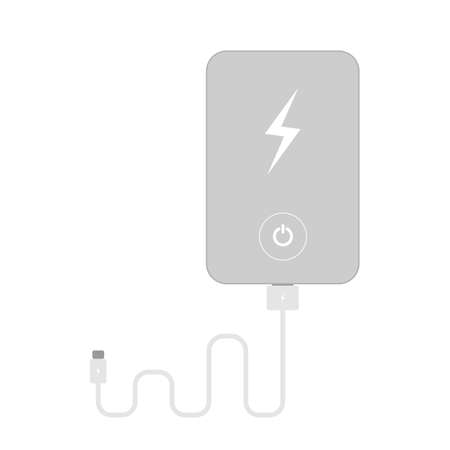 recharge: Isolated silver powerbank on white background. Portable device for recharge.