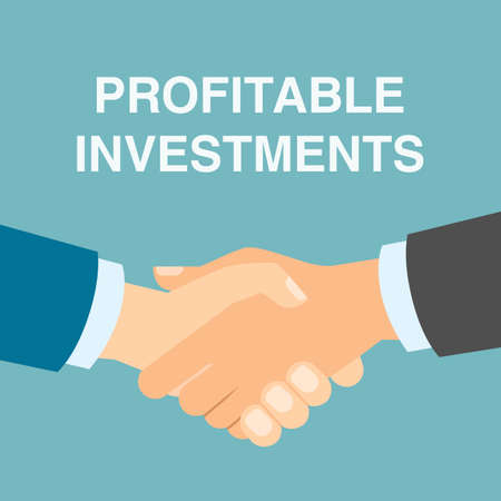 profitable: Profitable investments handshake. Making progress in business and finance. Illustration