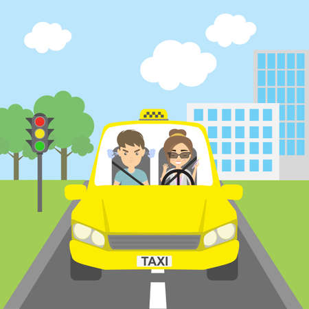 female driver: Woman taxi driver with passenger. Riding on the city street. Yellow car for urban service. Thoughtless female driver and angry male passenger.