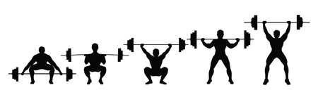 Póngase en cuclillas con la barra. Proceso de sentadilla con la barra pesada. Levantamiento de pesas, culturismo. Ilustración de vector