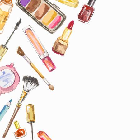 Waterverf het cosmetica-set op een witte achtergrond. Schoonheidsproducten voor vrouw. Glamour collectie. Stock Illustratie