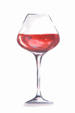 alcoholic beverage: Watercolor red wine glass. Beautiful and elegant glass with alcoholic beverage. Art for menu decoration.