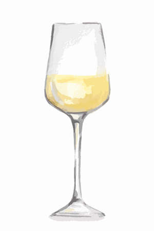 alcoholic beverage: Watercolor white wine glass. Beautiful and elegant glass with alcoholic beverage. Art for menu decoration.