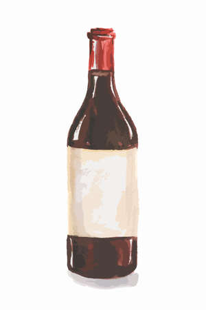 france painted: Watercolor red wine bottle. Isolated painted bottle of red wine. Restaurant menu and celebration drinking.