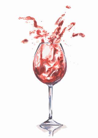 alcoholic beverage: Watercolor wine splash. Splash in wine glasses. Beautiful glasses for decoration menu in restaurant or cafe. Alcoholic beverage.