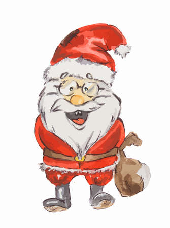Watercolor Santa Claus. Funny smiling Santa with sack and glasses. Red suit and white beard. Symbol of New Year and Christmas.