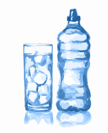 Watercolor water bottle and glass. Fresh healthy beverage. White background. Glass with ice cubes.