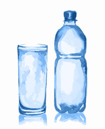 purify: Watercolor water bottle and glass. Fresh healthy beverage. White background. Full glass of water.