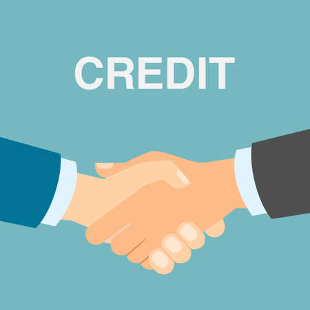 lend: Credit deal handshake. Lender lend credit. New partnership. Economy and payment.