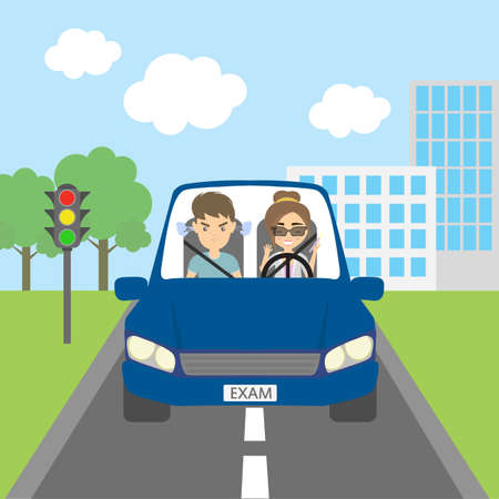 examiner: Woman student driver with passenger examiner passing driving test. Riding on the city street.Thoughtless female driver and angry male passenger. Illustration