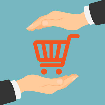 hacking: Online shopping protection. Safety from hacking, crime and fraud. Hands palm protect shopping cart.